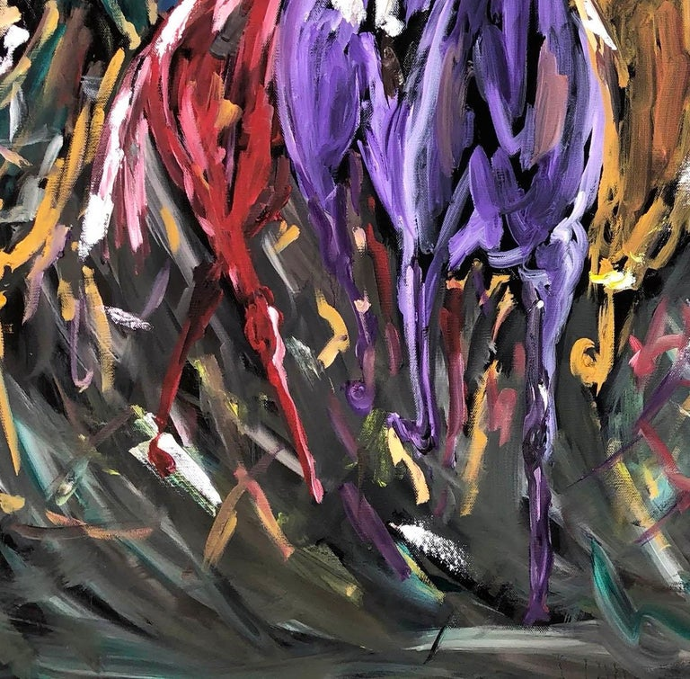 Garth Bayley, Chasing the Banker, Horse Art, Animal Art for Sale, Original Art For Sale 1