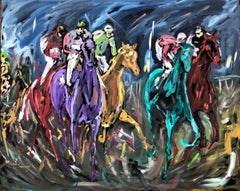 Garth Bayley, Chasing the Banker, Horse Art, Animal Art for Sale, Original Art