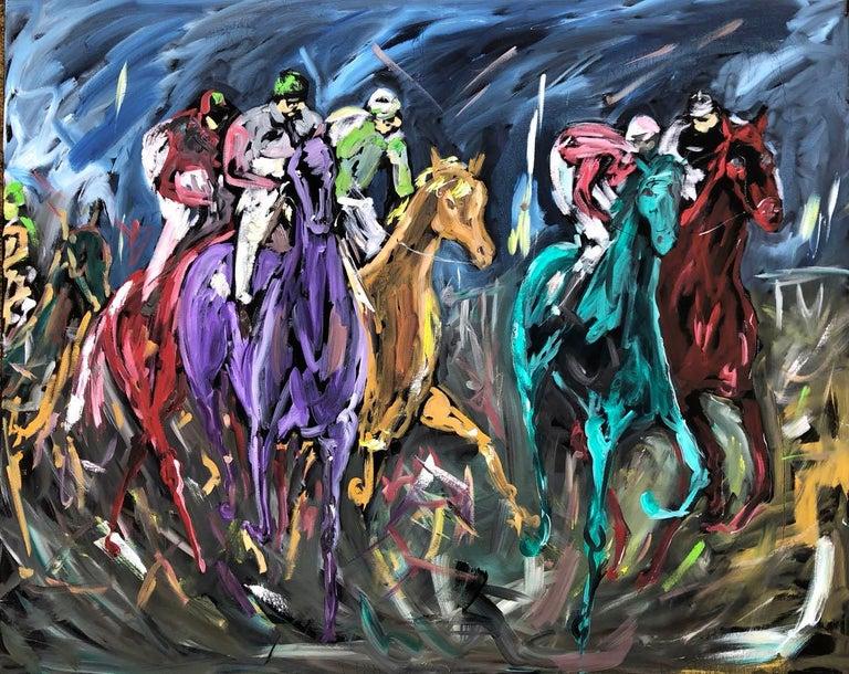 Garth Bayley, Chasing the Banker, Horse Art, Animal Art for Sale, Original Art - Painting by Garth Bayley
