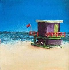 Beach Hut Purple BY JANETTE GEORGE, Original Contemporary Seascape Painting