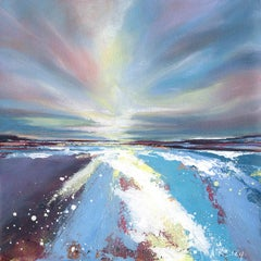 Adele Riley. Towards the sea lit-sky. Contemporary seascapes painting sunset art