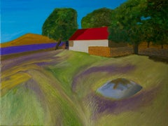 Red roof barn, Dartmoor BY CHRISTO SHARPE, Original Naive Landscape Painting
