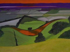 Early frost, Severn Vale BY CHRISTO SHARPE, Abstract Landscape Art, Naive Art