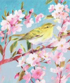 Wood Warbler, Original Painting, Animal Art, Bird Art, Nature Art, Floral Art