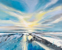 All the way to the horizon BY ADELE RILEY, Blue Art, Seascape Painting
