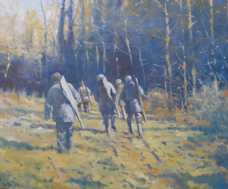 Colin Allbrook, Below the Wood, Original Contemporary Oil Painting, Rural Art - Gray Animal Painting by Colin Allbrook