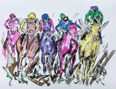 Garth Bayley, Kicking Up the Mud, Horse Racing Painting, Animal Art