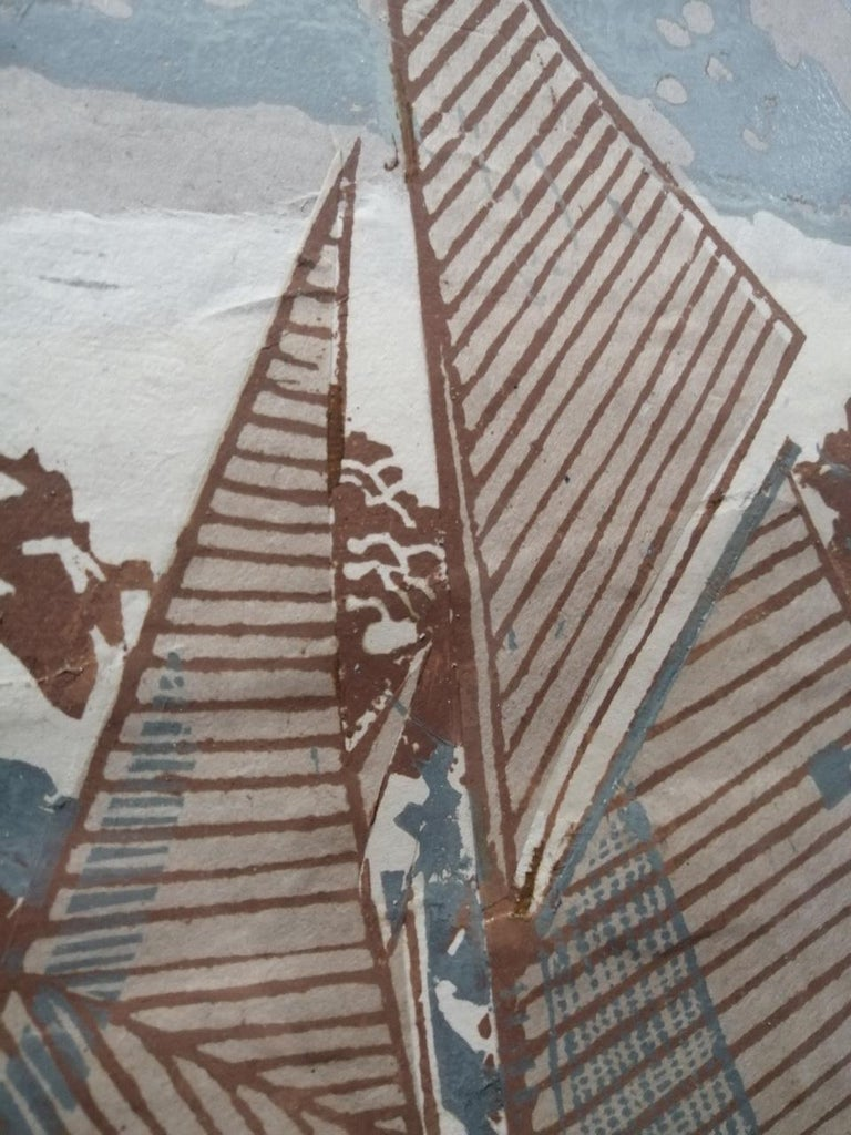Going About by John Scott Martin, sailing, boat, seaside, seascape, linocut  For Sale 1