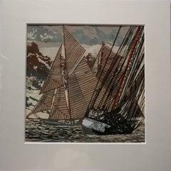 Going About by John Scott Martin, sailing, boat, seaside, seascape, linocut