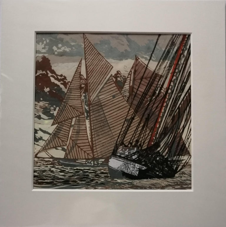 Images of sail printed by linocut on collage every print is in itself an original.  Having cut a series of lino blocks, I prepare collage backgrounds. I handprint onto the collages, which are made up of coloured, textured and decorative