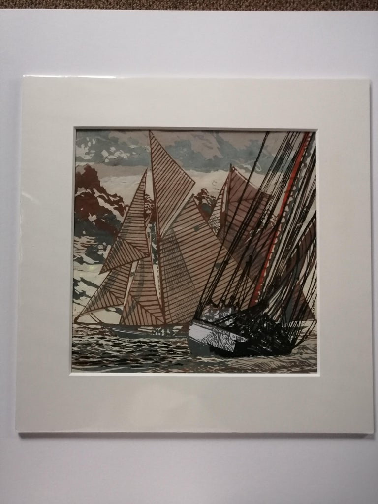 Going About by John Scott Martin, sailing, boat, seaside, seascape, linocut  For Sale 3
