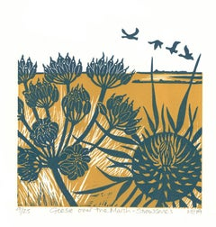 Geese Over the Marsh by Kate Heiss, Linocut print, nature, bird, contemporary