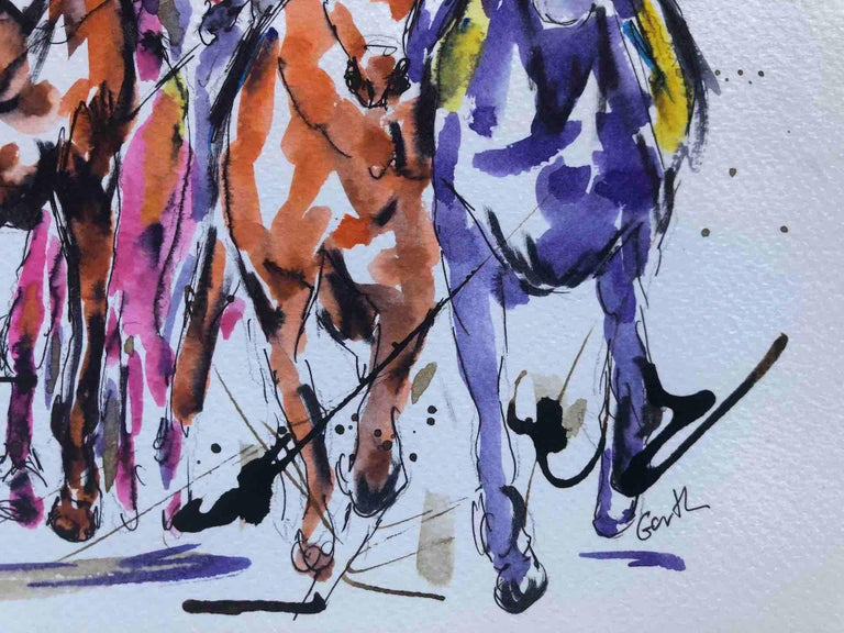 Sprinting Ahead Garth Bayley Horse racing art, Equine Art, Affordable Bright Art For Sale 3