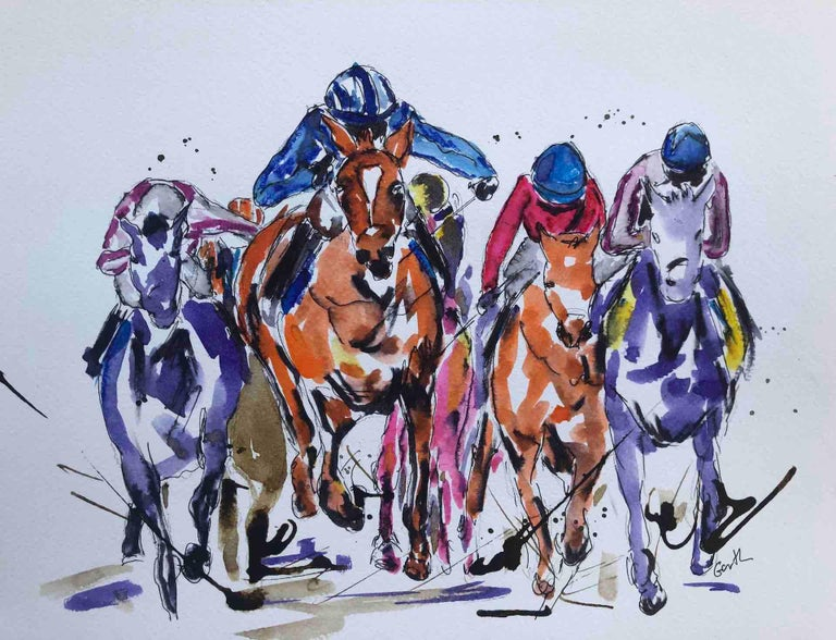 Sprinting Ahead Garth Bayley Horse racing art, Equine Art, Affordable Bright Art - Painting by Garth Bayley