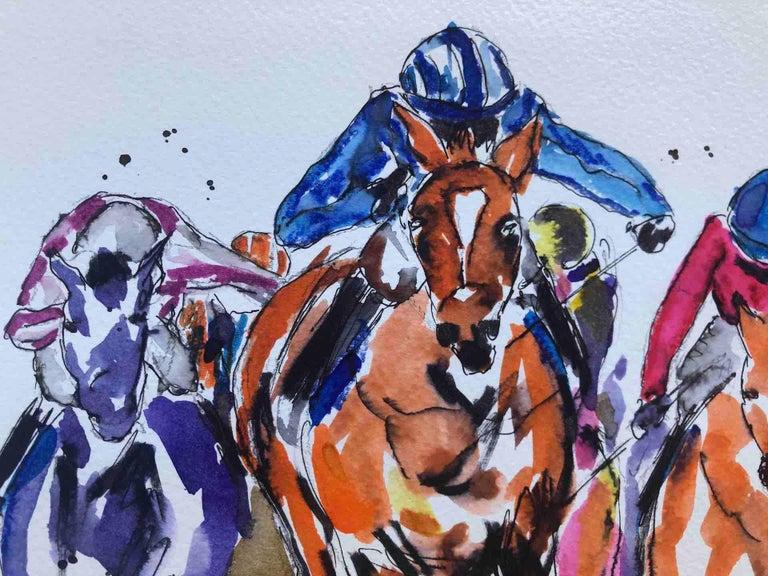 Sprinting Ahead Garth Bayley Horse racing art, Equine Art, Affordable Bright Art For Sale 4