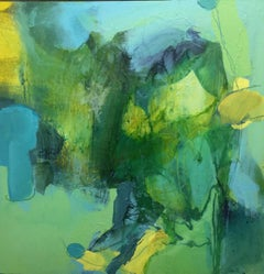 And it Rained, Annie Coxey, Green Art, Bright Art, Contemporary Abstract Art