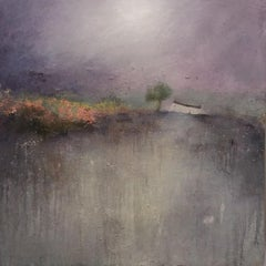 Lisa House, Lavender Moon, Abstract Landscape Painting, Purple Art, Gold Art