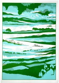 Chris Keegan, Under The Clouds, Bright Artwork, Blue and Green Print, Sky Art