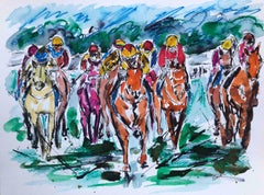 Bumper Race, Garth Bayley, Horse Racing Painting, Bright Animal Art, Equine Art