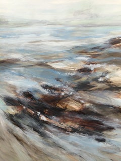 Victoria Fletcher, River Running, Landscape Painting, Water Art, Blue Painting