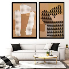Nicola Grellier, Femmage, Monochromatic Diptych Original Abstract Minimalist Art