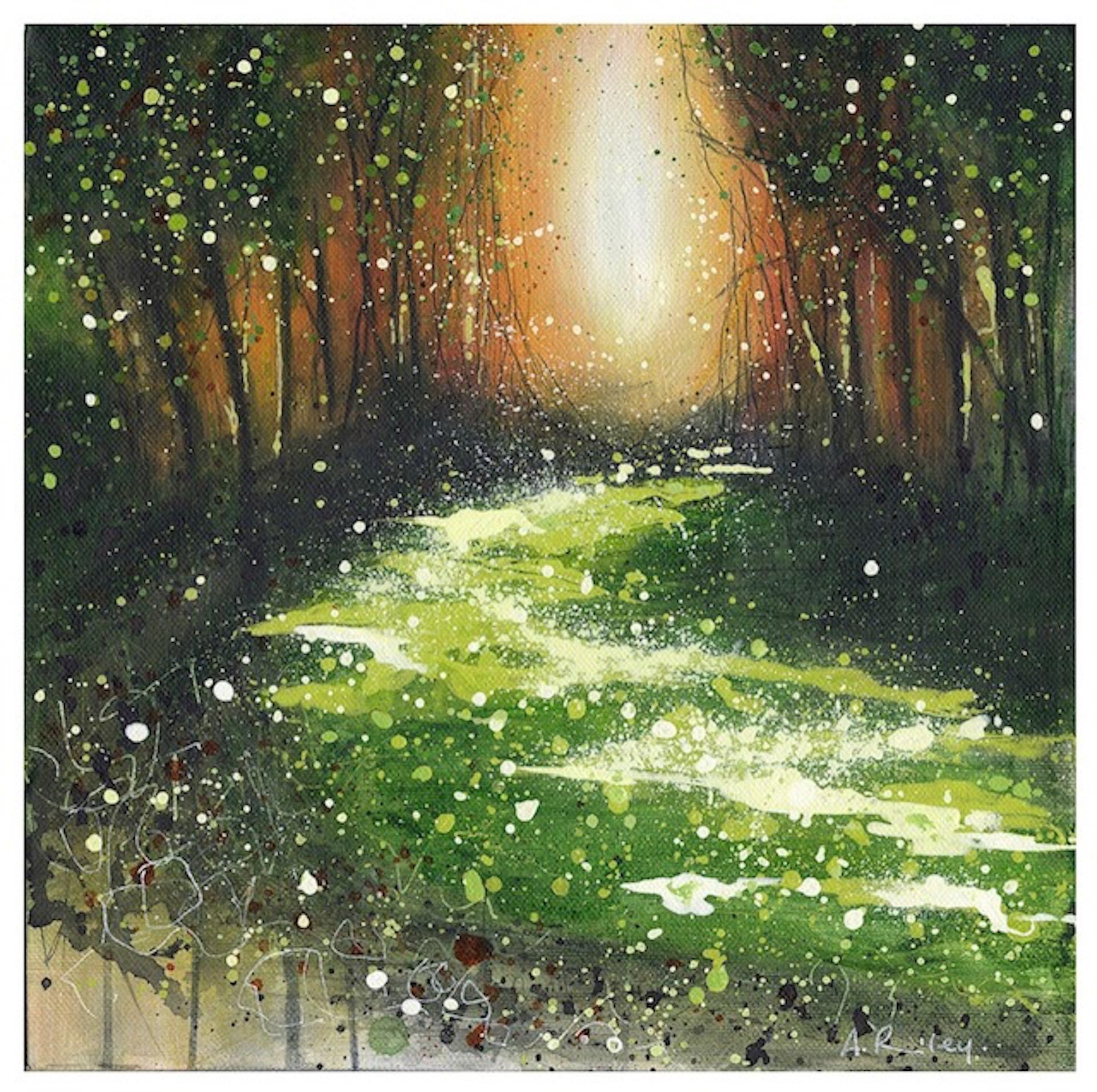 Burning Sun, Adele Riley, Original Landscape Painting, British Art, Green Art