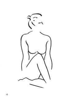 Nude Drawing from Series 7 No.2D BY DAVID JONES, Minimalist Figurative Drawing