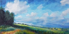 Sharon Williams, Blue Skies, Bright Painting, Original Landscape Art, Tradition