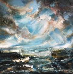 Gathering Storm, Helen Howells, Original Seascape Painting, Blue Art, Textured