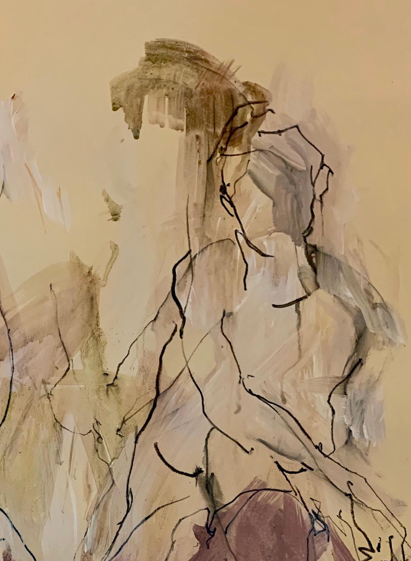 Sophie in 3 Poses, Judith Brenner, Contemporary Nude Painting, Affordable Art