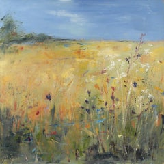 Libbi Gooch, Lower Field with Thistles, Bright Semi-Abstract Landscape Painting