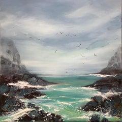 Hidden Cove, Seascape, Cornish Coast, Sky, Contemporary Art,