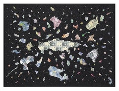 A Bigger Bang Black Diamond Dust, Contemporary Map Art, Diamond Dust Art