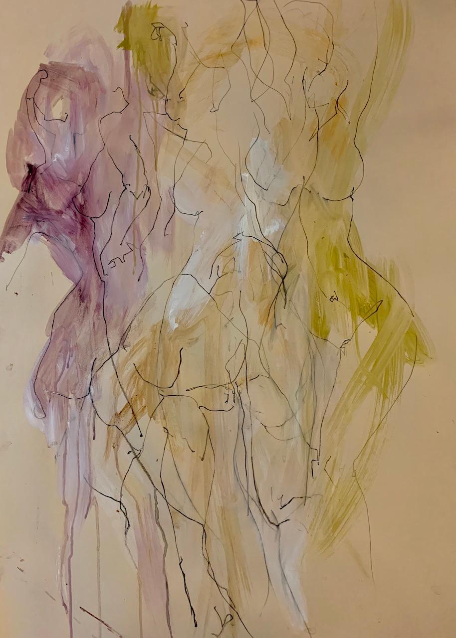 Judith Brenner, Sophie Dancing 1, Original Figurative Art, Abstract Sketch Art