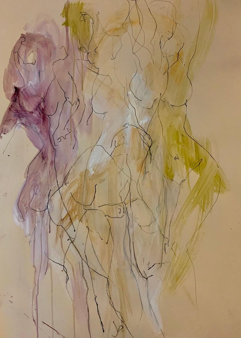 Judith Brenner Sophie Dancing 1 Original Figurative Drawing Acrylic Paint, Pan Pastel, Ink and Watercolour Pencil on Paper Sheet Size: 84.1cm x W 59.4cm x D 0.1cm Sold Unframed Please note that in situ images are purely an indication of how a piece