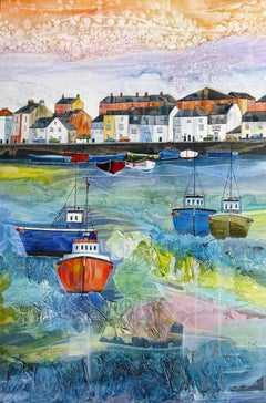 Anya Simmons, Weymouth Harbour, Original Boat Art, Bright Devonshire Paintings