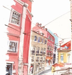Gary Wing, Lisbon Street, Original Architectural Painting, Affordable Art