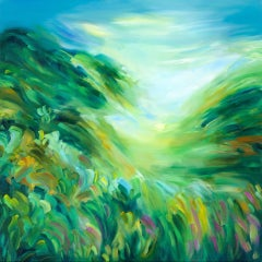 Caught Somewhere In Between, Alanna Eakin, Bright Abstract Landscape Painting