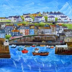 Anya Simmons, Mevagissey Harbour, Cornwall, Original Mixed Media Painting