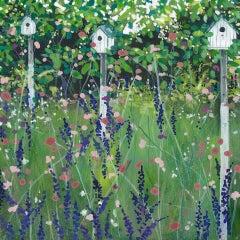 Adele Riley, Bird Houses, Garden, Original Painting, Nature Art, Bright Artwork