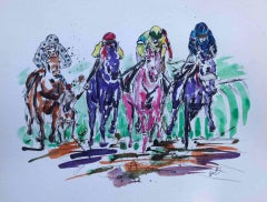 Garth Bayley, All Weather Winner, Original Horse Racing Painting, Equine Art