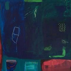 Diane Whalley, Nights on the Veranda, Original Abstract Painting, Bright Art