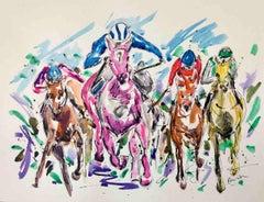 Heads Down, Garth Bayley, Equine Painting, Impressionist Horse Racing Art