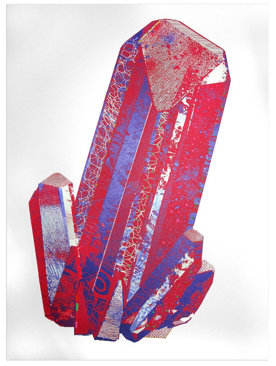 Chris Keegan, Red Gemstone, Limited Edition Print, Bright Art, Cubist Art, Happy