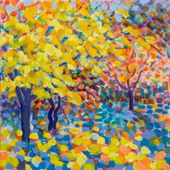 Rosemary Farrer, Yellow Maple, Maple Tree Painting, Original Impressionist Art