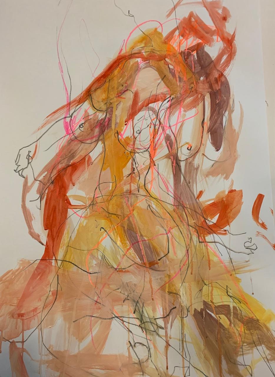 Judith Brenner, Sophie Dancing 2, Original Abstract Impressionist Nude Sketch