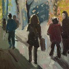 Eleanor Woolley, Winter Shadows 3, Original Oil Painting, Affordable Figure Art