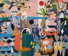 Adam Bartlett, Liquid Diamonds, Original Bright Abstract Painting, Contemporary