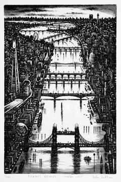 John Duffin, Thames Bridge - Looking West, London Art, Cityscape Art, River Art
