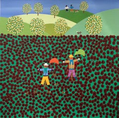 Gordon Barker, Poppy Field Scarecrow, Original Naive Landscape Painting